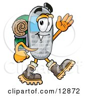 Wireless Cellular Telephone Mascot Cartoon Character Hiking And Carrying A Backpack