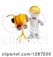 3d White Construction Worker Man Standing By A Cement Mixer