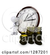 3d White Man Checking His Watch And Leaning Against A Clock With Stacks Of Coins