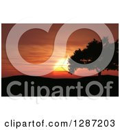 Clipart Of A 3d Red And Orange Ocean Sunset Silhouetting Hills And A Tree Royalty Free Illustration