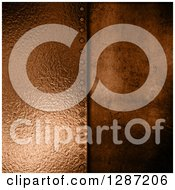 Clipart Of A 3d Background Of Bronze Metal Plate Screwed Into Concrete Royalty Free Illustration by KJ Pargeter