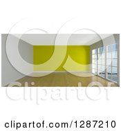 Clipart Of A 3d Empty Room Interior With Floor To Ceiling Windows And A Yellow Wall Royalty Free Illustration