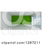 Clipart Of A 3d Empty Room Interior With Floor To Ceiling Windows And A Green Wall Royalty Free Illustration