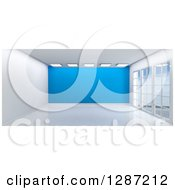 Clipart Of A 3d Empty Room Interior With Floor To Ceiling Windows Lights And A Blue Wall Royalty Free Illustration