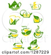 Poster, Art Print Of Green And Yellow Tea Cups And Pots With Leaves 3