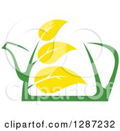 Clipart Of A Green And Yellow Tea Pot With Leaves 6 Royalty Free Vector Illustration by Vector Tradition SM