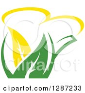 Poster, Art Print Of Green And Yellow Tea Pot With Leaves 7