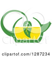 Clipart Of A Green And Yellow Tea Pot With A Leaf Dipping In The Liquid Royalty Free Vector Illustration