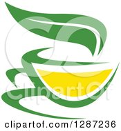 Clipart Of A Green And Yellow Tea Cup With A Leaf 2 Royalty Free Vector Illustration