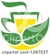 Clipart Of A Green And Yellow Tea Cup With Leaves And Steam Royalty Free Vector Illustration