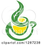 Clipart Of A Green And Yellow Tea Cup With A Leaf 3 Royalty Free Vector Illustration