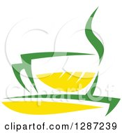 Clipart Of A Green And Yellow Tea Cup With Steam Royalty Free Vector Illustration