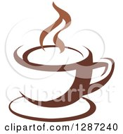 Clipart Of A Two Toned Brown And White Steamy Coffee Cup On A Saucer 11 Royalty Free Vector Illustration