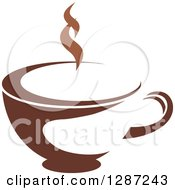Clipart Of A Two Toned Brown And White Steamy Coffee Cup Royalty Free Vector Illustration