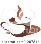 Clipart Of A Two Toned Brown And White Steamy Coffee Cup 3 Royalty Free Vector Illustration