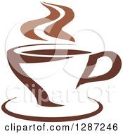 Clipart Of A Two Toned Brown And White Steamy Coffee Cup On A Saucer 9 Royalty Free Vector Illustration