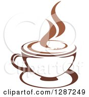 Clipart Of A Two Toned Brown And White Steamy Coffee Cup On A Saucer Royalty Free Vector Illustration