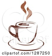 Clipart Of A Two Toned Brown And White Steamy Coffee Cup On A Saucer 2 Royalty Free Vector Illustration