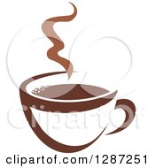Clipart Of A Two Toned Brown And White Steamy Coffee Cup 2 Royalty Free Vector Illustration