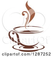 Clipart Of A Two Toned Brown And White Steamy Coffee Cup On A Saucer 3 Royalty Free Vector Illustration