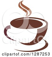 Clipart Of A Two Toned Brown And White Steamy Coffee Cup On A Saucer 4 Royalty Free Vector Illustration