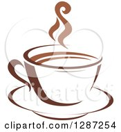 Clipart Of A Two Toned Brown And White Steamy Coffee Cup On A Saucer 5 Royalty Free Vector Illustration