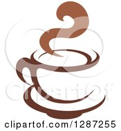 Clipart Of A Two Toned Brown And White Steamy Coffee Cup On A Saucer 6 Royalty Free Vector Illustration