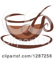 Clipart Of A Two Toned Brown And White Steamy Coffee Cup On A Saucer 7 Royalty Free Vector Illustration
