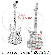 Clipart Of Electric Guitars Made Of Music Notes And A Tag Word Collage Royalty Free Vector Illustration by Vector Tradition SM