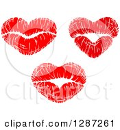 Clipart Of Red Lipstick Kisses In The Shape Of Hearts Royalty Free Vector Illustration by Vector Tradition SM