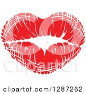 Clipart Of A Red Lipstick Kiss In The Shape Of A Heart Royalty Free Vector Illustration