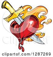 Clipart Of A Sword Stabbing A Bleeding Heart Over Orange Flames Royalty Free Vector Illustration