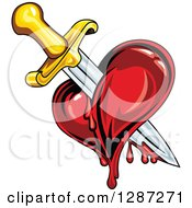 Clipart Of A Sword Stabbing A Bleeding Heart Royalty Free Vector Illustration