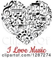 Clipart Of A Black And White Music Note Heart With Red I Love Music Text Royalty Free Vector Illustration