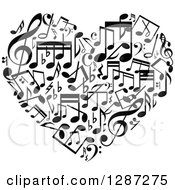 Clipart Of A Black And White Music Note Heart Royalty Free Vector Illustration by Vector Tradition SM