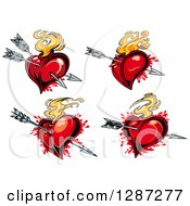 Clipart Of Flaming Red Hearts Pierced With Arrows Royalty Free Vector Illustration by Vector Tradition SM