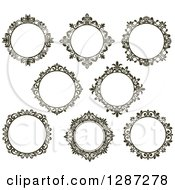Clipart Of Dark Brown Round Ornate Vintage Floral Frames Royalty Free Vector Illustration