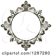Clipart Of A Dark Brown Round Ornate Vintage Floral Frame 2 Royalty Free Vector Illustration