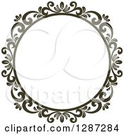 Clipart Of A Dark Brown Round Ornate Vintage Floral Frame 6 Royalty Free Vector Illustration