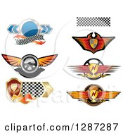 Clipart Of Auto Racing Steering Wheels Shields And Trophies Royalty Free Vector Illustration