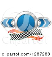 Clipart Of A Blue And Chrome Racing Circle And Arrows With Flames And A Checkered Banner Royalty Free Vector Illustration