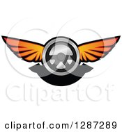 Clipart Of A Winged Racing Steering Wheel And Black Banner Royalty Free Vector Illustration