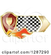 Clipart Of A Gold And Red Wreath And Trophy Shield With Flames And A Checkered Banner Royalty Free Vector Illustration