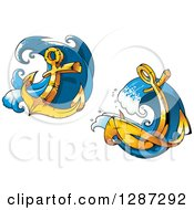 Clipart Of Golden Ship Anchors With Frothy Blue Splashes Royalty Free Vector Illustration
