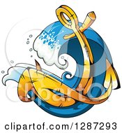 Clipart Of A Golden Ships Anchor With A Frothy Blue Splash Royalty Free Vector Illustration
