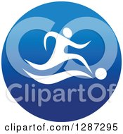 Clipart Of A Round Blue Spots Icon Of A White Male Athlete Playing Soccer Royalty Free Vector Illustration