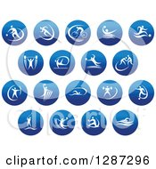 Clipart Of Round Blue Spots Icons Of White Male Athletes In Action Royalty Free Vector Illustration