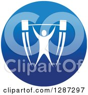 Clipart Of A Round Blue Spots Icon Of A White Male Athlete Bodybuilder Lifting A Barbell Royalty Free Vector Illustration