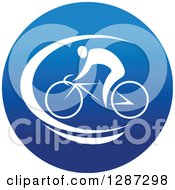 Clipart Of A Round Blue Spots Icon Of A White Male Athlete Cyclist Royalty Free Vector Illustration