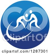 Clipart Of A Round Blue Spots Icon Of White Male Athletes Wrestling Royalty Free Vector Illustration